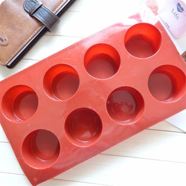 8 Löcher Runde Form Silikon Backform 3D Handgemachte Cupcake Pudding Cookie Mini Muffin Seifenform DIY Backenwerkzeuge