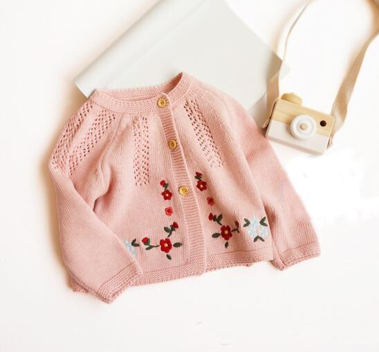 baby kids clothing sweater Flower Embroidery Knitted Cardigan sweater 100% Cotton Boutique cotton spring fall Girl sweater