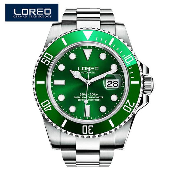 LOREO Green Water Ghost Series Relojes automáticos de lujo para hombres Buceo de acero inoxidable 200m Reloj mecánico luminoso resistente al agua