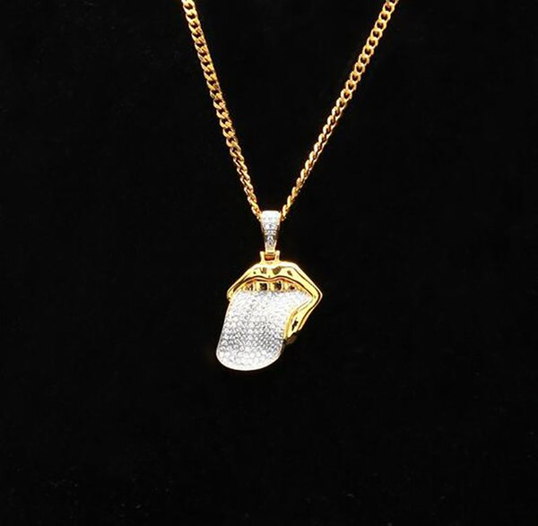 18K Gold Plated Iced Out Big tongue Pendant Necklace Mens Charm with 24inch Cuban Link Chain Hip Hop Jewelry