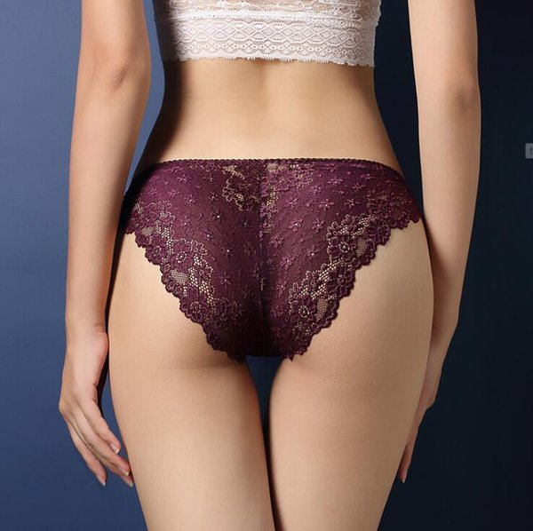 Ver a través de las mujeres Ropa interior Calzoncillos de encaje sexy Cintura baja 8 colores Bragas Femme Bragas sólidas Tamaño libre Ropa interior de mujer