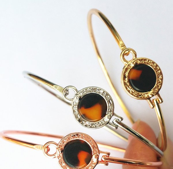 New York Fashion Brand Tone Bangles resin round charm Bracelets silver/gold/rose gold colours fashion jewelry for women