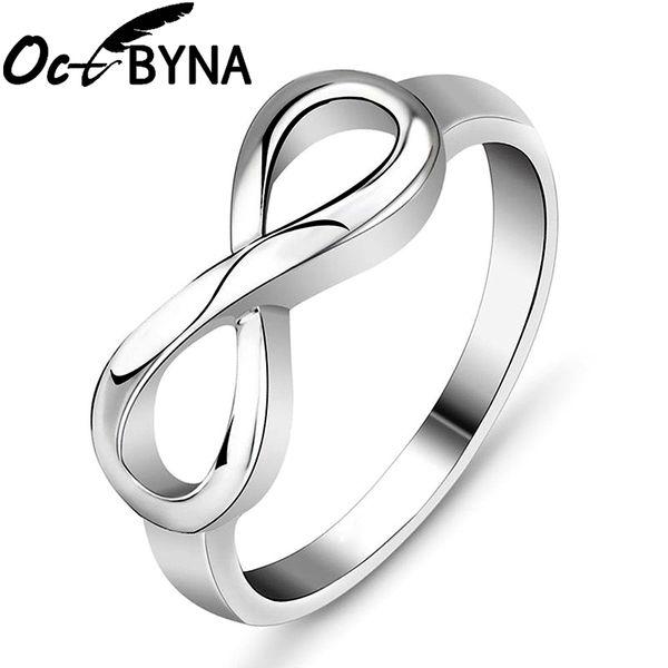 Octbyna vente chaude charme alliage de mode bagues argent couleur infinity déclaration bague pour femmes bijoux de mariage cadeau