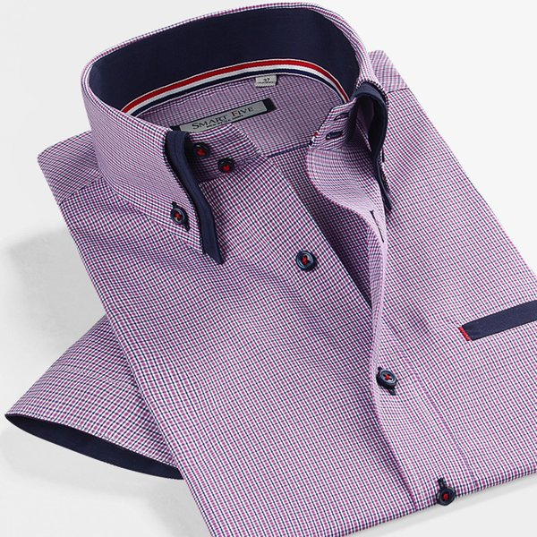 New 2018 Summer Brand Male Purple Double Collar Slim Fit Casual Plaid Short Sleeve Men Business Shirts Plus Size