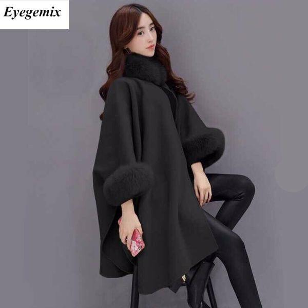 Women Woolen Overcoat Camel Poncho Winter Knitwear Shawl Cape Feminino Loose Warm Outerwear Inverno Plus Size 3XL Overcoat