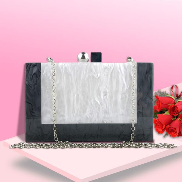 Damen Umhängetaschen Schwarz Weiß Nähte Farben Acryl Box Abend Clutch Taschen Haspe Geldbörse Messenger Bag Pochette Femme