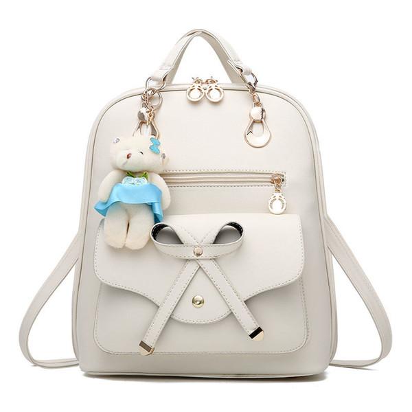 2019 Sevimli Ayı Sırt Çantası Kadın Okul Kızlar Için Yay Çantaları Sırt Çantaları Kadınlar Için Çanta Seyahat Omuz Çantaları Pu Deri Sırt Çantası Dcr01