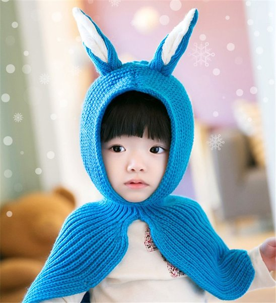 Unisex Kinder Kaninchen Ohren häkeln gestrickte Mützen und Schal Winter warm Ohrenklappe Anzug Set Baby Kleinkind warme Kinder niedlich Muster Mützen Hut Set