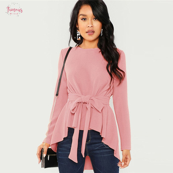 Langarm-Shirt Frauen Blusen und feste Shirts Herbst Damen Selbst Belted Rosa asymmetrischer Saum Frauen Tops Elegante Bluse
