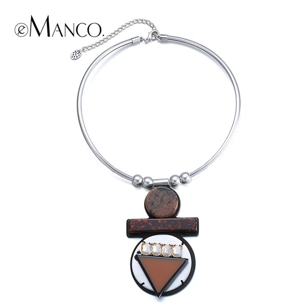 emanco coffee stone geometric pendant necklace crystal stone collar choker necklaces new women trendy statement necklace, Silver