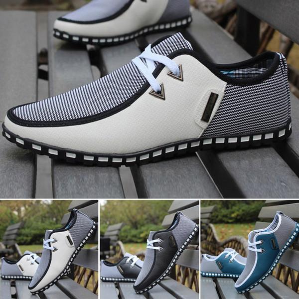 Holgazán de cuero con cordones de los hombres Casual de negocios Respirable Suave deslizamiento Zapatillas de lona Ultraligero Moda # 106