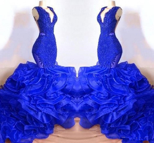Beautiful Layer Ruffles Tulle Mermaid Prom Dresses Royal Blue V Neck Sheer Backless Long Evening Gowns Custom Made High Quality BC1687