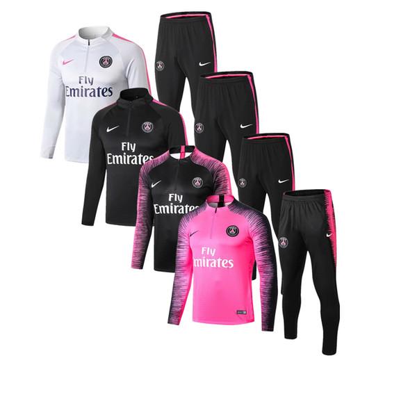 mejor calidad de nuevo 18 19 Paris fútbol para hombre chaqueta de los chándales 2019 PSG sportwear Cavani capucha del fútbol del jersey traje de entrenamiento Mbappe