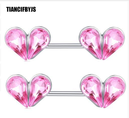 Heart Zircon Nipple Piercing Earring Surgical Steel 14G Ear Barbell Fashion Body Jewelry Nipple Rings 20pcs