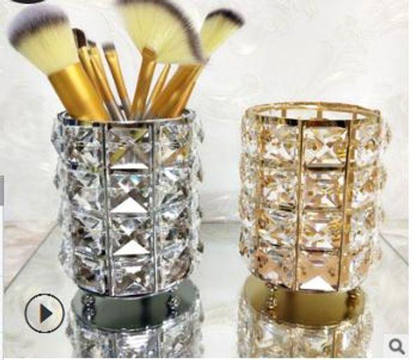 Europe Metal Makeup Brush Storage Box Eyebrow Pencil Makeup Organizer Fashion Crystal Jewelry Cosmetics Storage Case