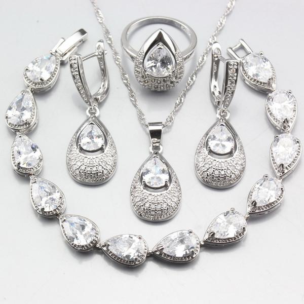 Accessoires de bijoux de mariage de mariée de charme 925 Sterling Silver Accessoires Pure White Zircon Boucles d'oreilles / Collier / Pendentif / Bracelet / Bague