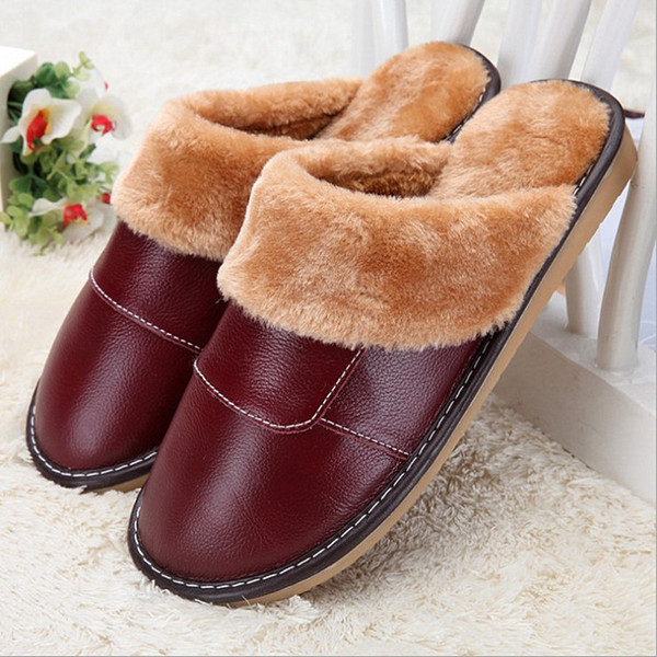 New Genuine Leather Home Slippers High Quality Women Men Slippers Plush Warm Indoor Shoes Men Women