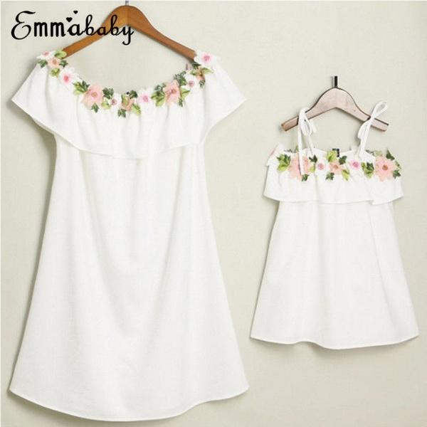 Hot Family Matching Dresses Mother&Daughter Women Girls Floral Dress Party Clothes