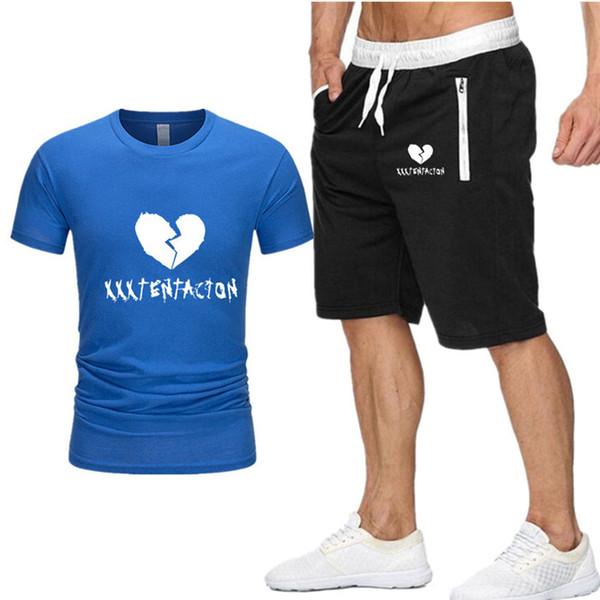 New Men Sets t shirt+shorts men Brand clothing Xxxtentacion Harajuku tracksuit Fashion Casual Tshirts Workout Fitness Streetwear P7