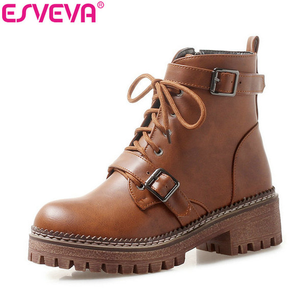 esveva 2020 woman boots round toe western style shoes zip winter women ankle boots square heels shoes platform high heels 34-43