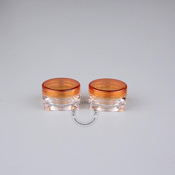 Free Shipping-Makeup Tools 100pcs x Excellent 3g Empty Plastic Cream Jar With Orange Lid 3cc Mini Square PS Bottle For Powder