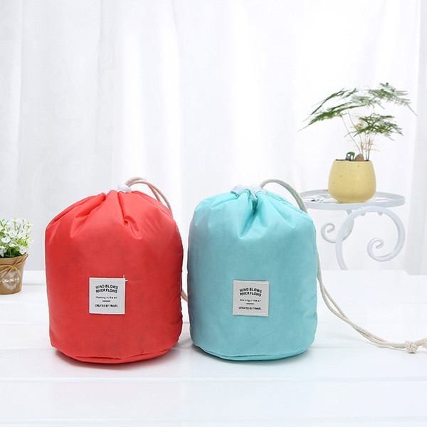 Waterproof barrel travel cosmetic bag cosmetic bag Nylon wash Dressing storage box toilet large capacity