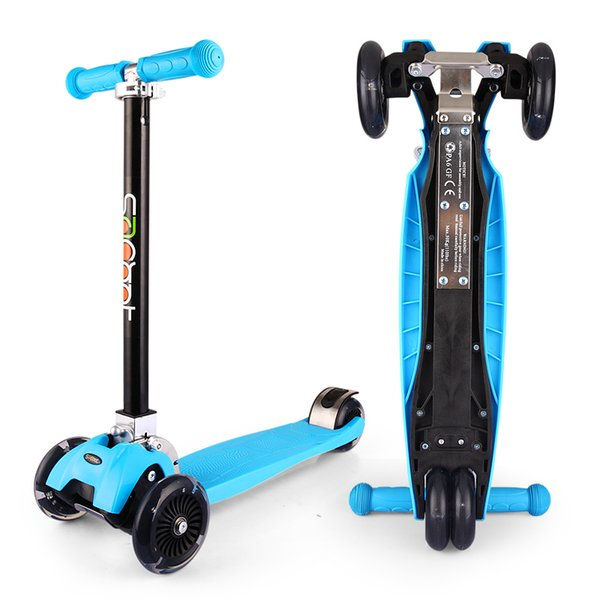 Best Folding Portable kids Scooter 3 Wheel Scooters With Rear Brake PU Flashing Height Adjustable For 2-16 Year Old