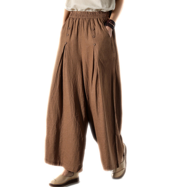 Women Cotton Linen Wide-Legged Pants With Pockets Elastic Waist Loose Casual Trousers Black Brown beige White
