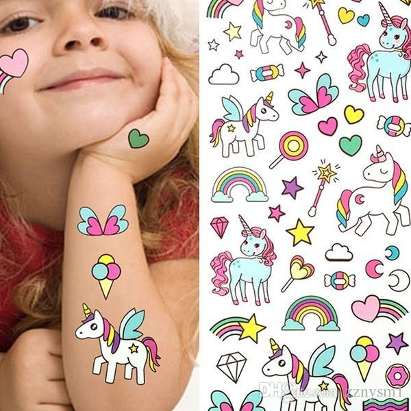 Bikini stickers for beach in summer Waterproof Temporary Fake Tattoo Stickers Pink Unicorn Horse Cartoon Design Kids Child Body Art Make Up