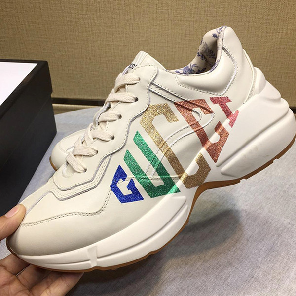 Mode Sneakers Sommer Herren Schuhe Professionelle Ausbildung Mode Herren Sportschuhe Sportschuhe für Männer Rhyton Leder Sneakers