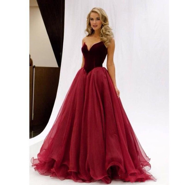 Elegant Miss USA Pageant Prom Dresses Puffy Skirt Sweetheart Burgundy Velvet Floor Length Long Special Occasion Gowns Evening Dress Cheap