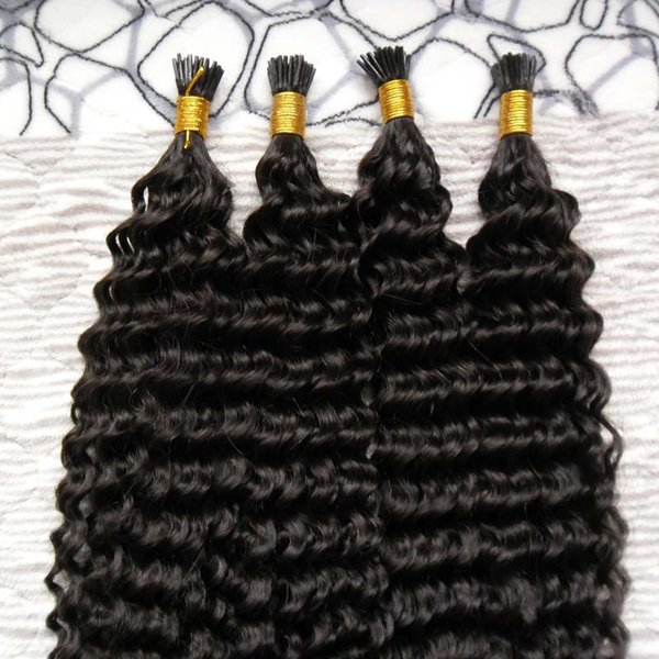 brazilian virgin hair 200g Curly Pre Bonded Hair Extensions I Tip Machine Made Remy kinky curly Human On Capsule Real Hair