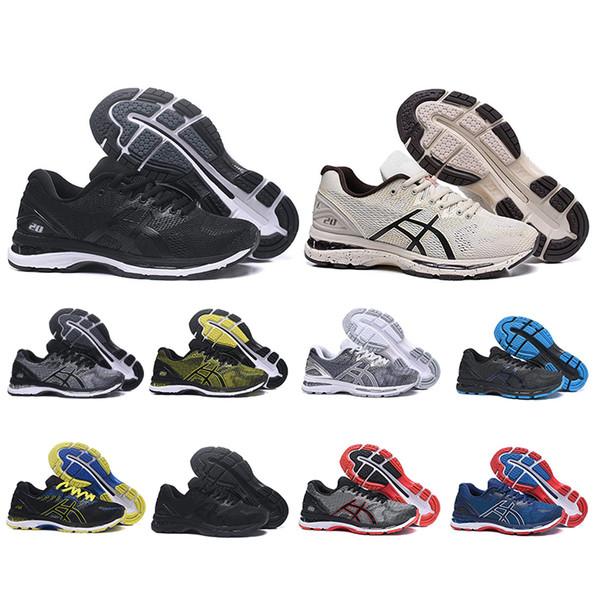Acheter Asics 2020 New GEL Nimbus 20 Hommes Chaussures De Course Noir Gris Triple Noir Blanc Tissages Tampon Athlétique Baskets De Sport Taille