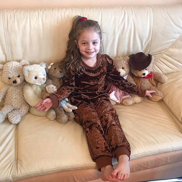 Nuovo Autunno Inverno Bambino Abbigliamento per bambini Set Ragazzi Ragazze Corduroy Tuta Sportiva Manica Lunga Tshirt + Pantaloni Bambini 2 pz Abiti 14379