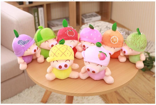 20pcs Cute Fruit Pig giocattoli peluche ripiene Ornamento giocattolo creativo regalo premuroso XRT 005