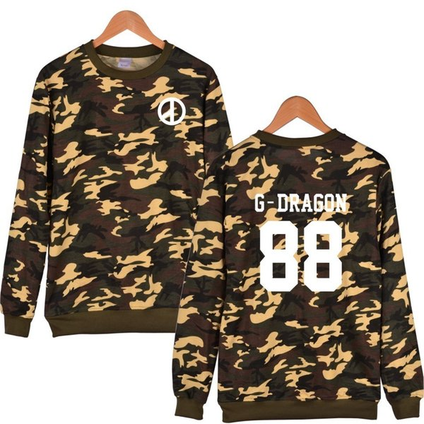 G-dragon Hoodie Men With Depth/shallow Camouflage Color And T.o.p Bigbang Kpop Fashion Clothes Xxs To 4xl C19041303