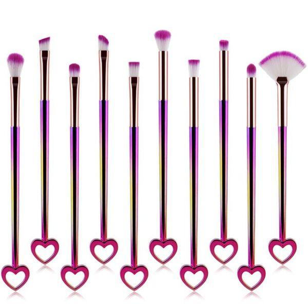 Forma de corazón Pinceles de Maquillaje Gradiente de Color Pinceles de Maquillaje 10 unids / set Bling Bling Cara Sombra de Ojos Fundación Cosmetic Brush GGA1807
