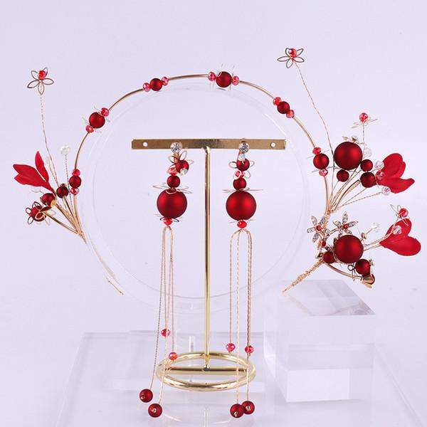 Women Girls Bridal Jewelry Sets Headdress Red Flower Hairbands Headdress Hole Earrings Wedding Sets Accessory LB