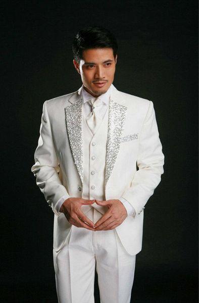 Design clássico Marfim Noivo Smoking Sequin Notchl Lapela Um Botão Groomsmen Mens Vestido de Casamento Excelente Homem Ternos (Jacket + Pants + Vest + Tie) 360