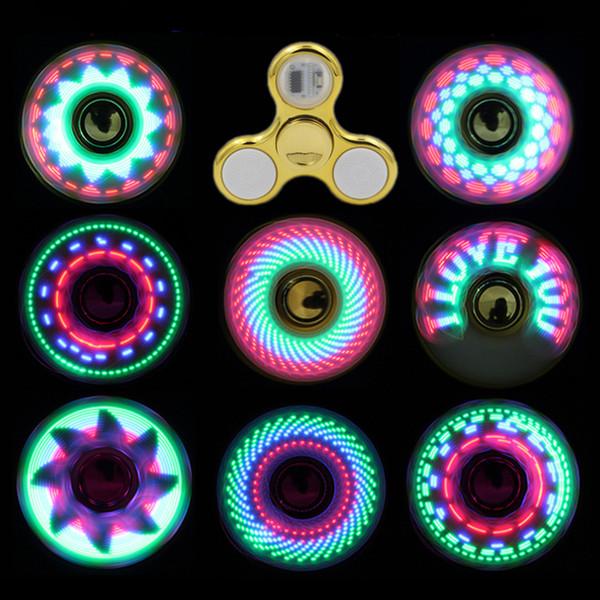 Cool coolest luz led mudando fidget spinners toy kids brinquedos auto mudança padrão 18 estilos com rainbow light up mão spinner