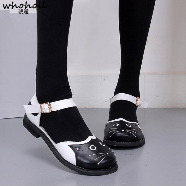 WHOHOLL Women Flat Shoes Kawaii Cat Shoes Buckle Strap Round-toe Lovely Harajuku Girls Ruri Cat Cute Strdent Cosplay