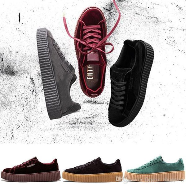 Rihanna Arrival Fenty Creeper New PUMO PUM Basket Platform Velvet Cracked Leather Suede Casual Shoes Men Women Free Drop Shipping Sneakers