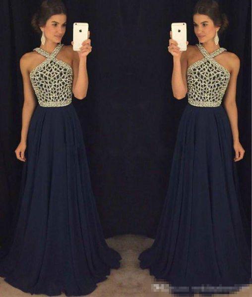 Compre Vestidos De Noche De Color Azul Marino De Color Azul Oscuro Con Cuentas De Gasa Con Cuentas Vestidos De Fiesta Vestido Largo De Fiesta Vestido
