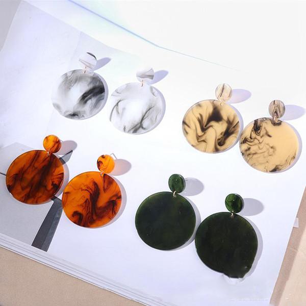 Nueva moda de estilo punk círculo grande cuelga los pendientes mujer acrílico resina círculo geométrico pendiente de gota regalos del partido