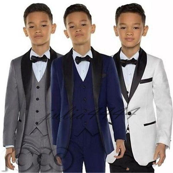2019 Stylish Custom Made Boy Tuxedos Shawl Lapel One Button Children Clothing For Wedding Party Kids Suit Boy Set (Jacket+Pants+Bow+Vest)