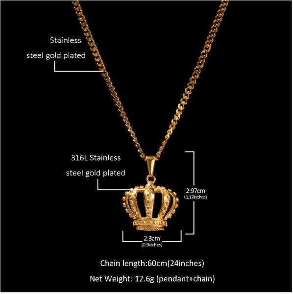 Euro-American hip-hop stainless steel hollow crown Pendant with vacuum color preservation and electroplating gold crown pendant for men and