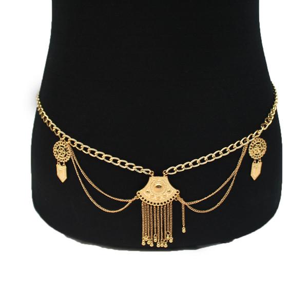 Influx Waist Chain Female Shield Tassel Waist Accessories Sexy Waist Chain Sexy Tassel Bikini Body Chain Jewelry for Women Boho Body Jewelry