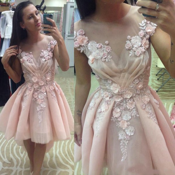 Lovely High Low Homecoming Dresses For Juniors Sheer Jewel Neck A-Line 3D Appliques Short Prom Gowns Knee Length Tulle Beaded Party Dress