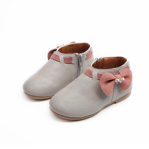 Nouveau 2019 Filles Enfants Enfants Arc En Cuir Toddler Chaussures Pour Bébé Printemps Automne Rose Cartoon Princess Chaussures 1 2 3 4 5 6 7 Ans 26