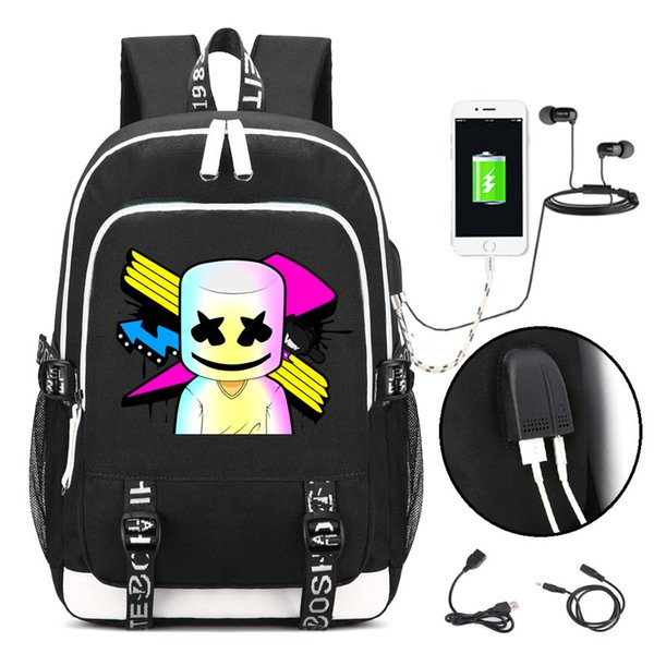 Marshmello face alone DJ Backpack with USB Charging Port and Lock &Headphone interface for College Student Work Men & Women